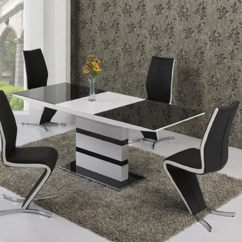 JP DT 2104 Dining table (Small) 120-160 cm& JP CH601 Plush Black /White Strip Chairs  BY Jesse plana